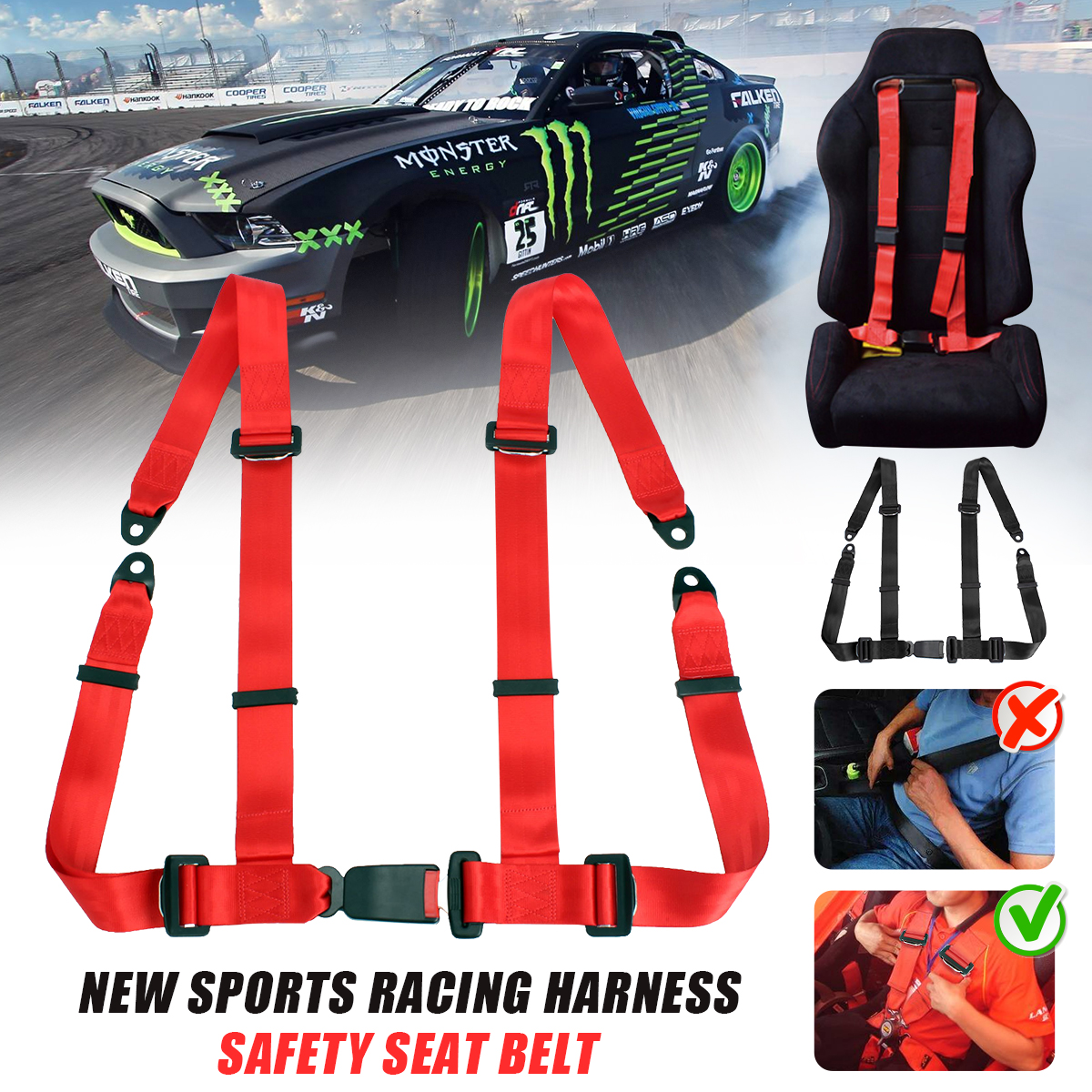 1x New Sports Racing Harness Seat Belt 3 4 Point Fixing Mounting Quick Release Nylon Car Safety Racing Seat Belt Black Red