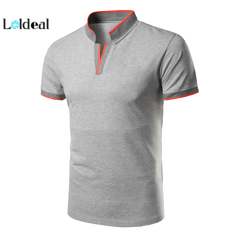LOLDEAL Men's Short Sleeve   Polo   Shirts Summer Daily Sports Vitality Cotton Slim   Polo   Solid Color Stand Red