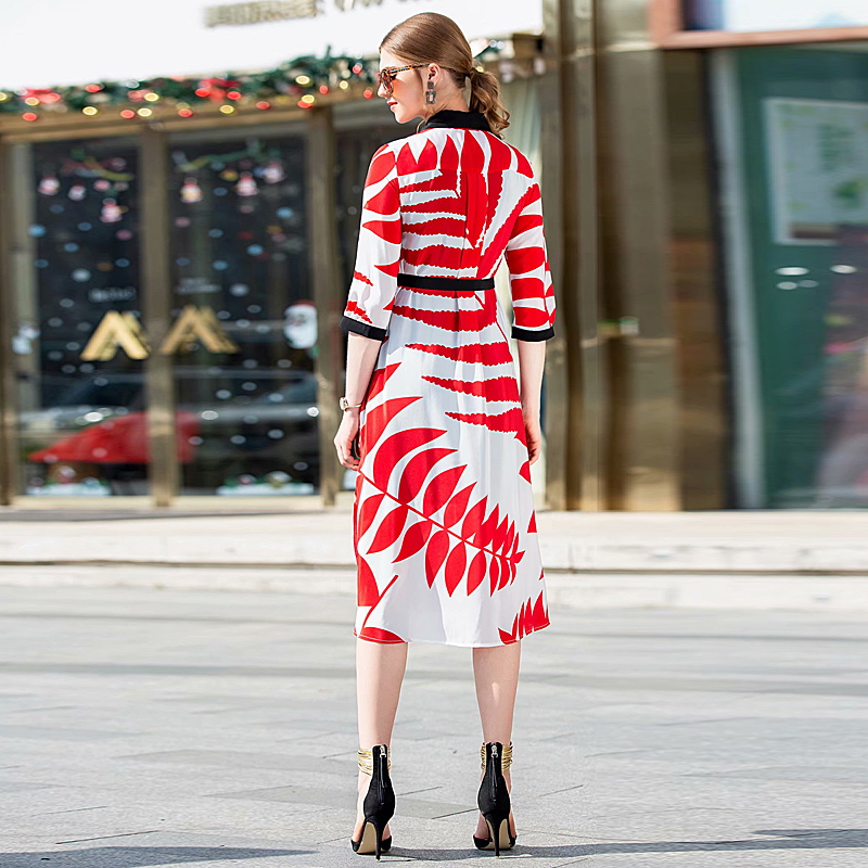 6d64837b0c87 Xf E Modo Camicia Primavera Rosso Lunghi Estate Del Vintage 2019 Di Vita L   Delle Donne Progettista Alta A Abiti xrEYwrgq