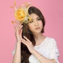 Бесплатная Доставка Женщины Чародей Шляпы Желтый Органзы Цветок Перо Аксессуары Для Волос Свадебные Аксессуары Для Волос Прическа