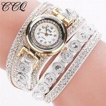 2016 CCQ Watch Women Brand Luxury Gold Fashion Crystal Rhinestone Bracelet Women Dress Watches Ladies Quartz Wristwatches