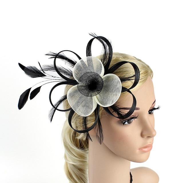 c8e1dc6c Fascinator Pillbox Hat Cocktail Party Headdress Wedding Bride Headwear ( Black+White, Random Clip Style)