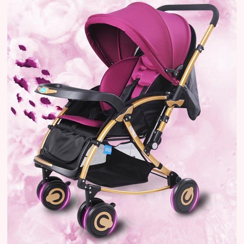 Милая детская коляска прогулочная легкая складная тележка для детей 0 3 лет, двухходовая ударная детская коляска с лошадкой качалкой