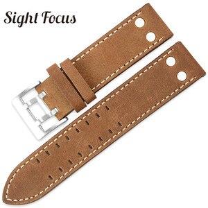Image 3 - 22mm fou cheval veau cuir sangles pour Hamilton Zenith Seiko bracelet de montre Rivet militaire pilote kaki champ Aviation montre ceintures