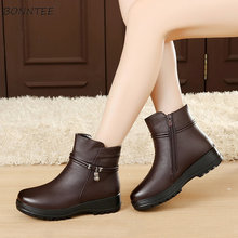 Boots Women Winter Fashion Wedges Snow Boot Womens Thicker Warm Plush Mother Shoes Casual Ankle Non-slip Zipper High Quality(China)