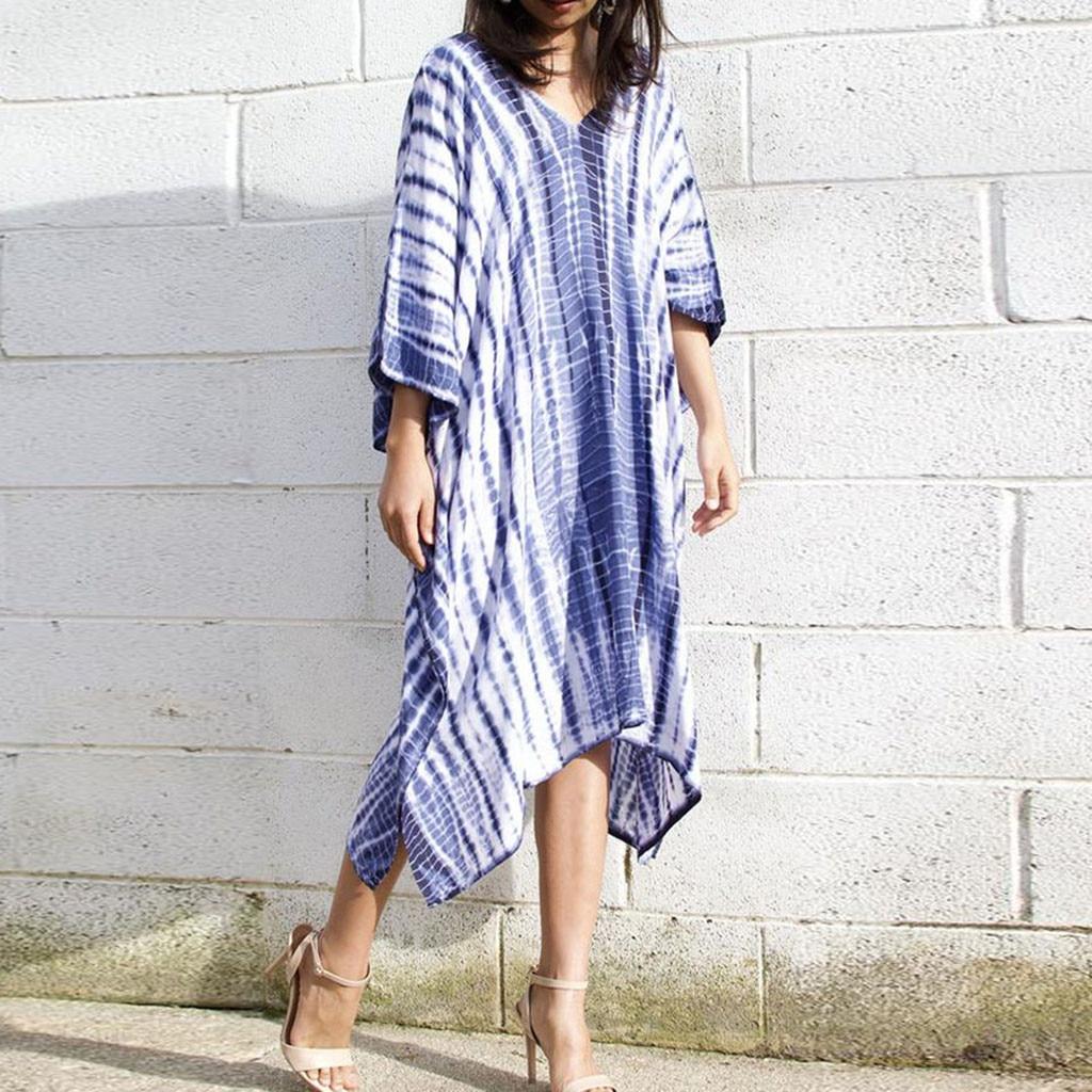 Feitong Ladies Loose Summer Dress Women Fashion Tie Dyeing Gradient V Neck Color Short Sleeve Loose Dress vestidos verano 2020
