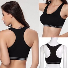 Women Seamless Racerback Padded Cotton Solid Sports Bra Top Yoga Fitness Padded