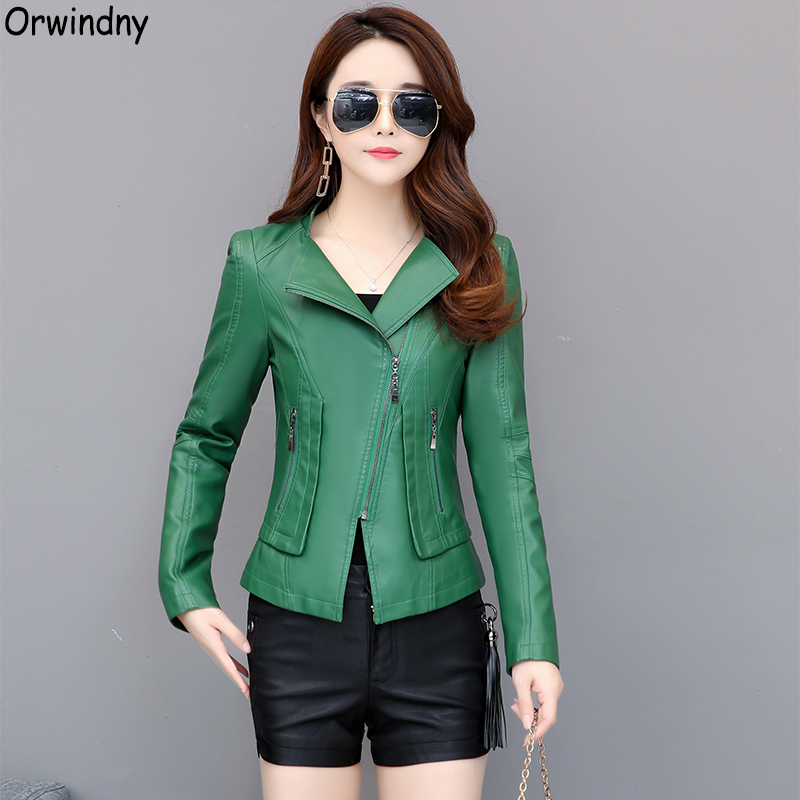 Orwindny 2019 New Slim Women Leather Coat Plus Size 3XL Green Leather Clothing Motorcycle Leather Jackets Female