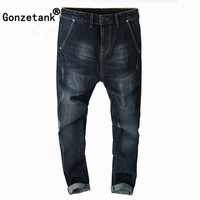 GONZETANK 2017 Harlan Black Ripped Jeans For Men Classical And Straight Boyfriend Jeans Narrow For Middle