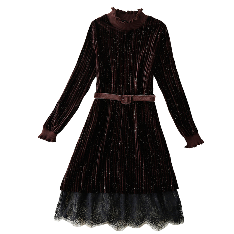 2017 New Spring Autumn Women Turtleneck Long Sleeve Lace Stitching Knitted Dress Retro Pleated Velvet Winter Women's Dress Z408 velvet turtleneck pleated dress