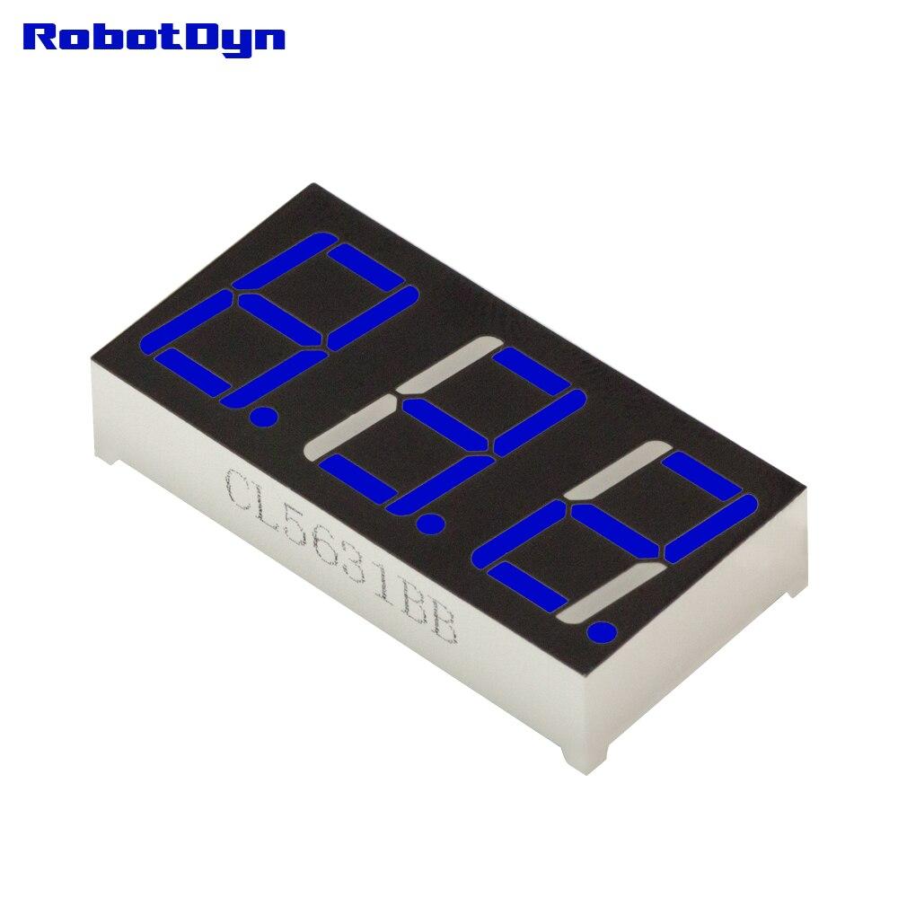 5pcs = 3-Digit 7-segments LED Display tube, decimal dots, BLUE, disp. size 38x19mm, 0.56