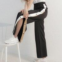 LANMREM 2018 Summer Fashion New Simple All macth Splice Color Side Buckle Loose Elastic Waist Pants Female Q54701