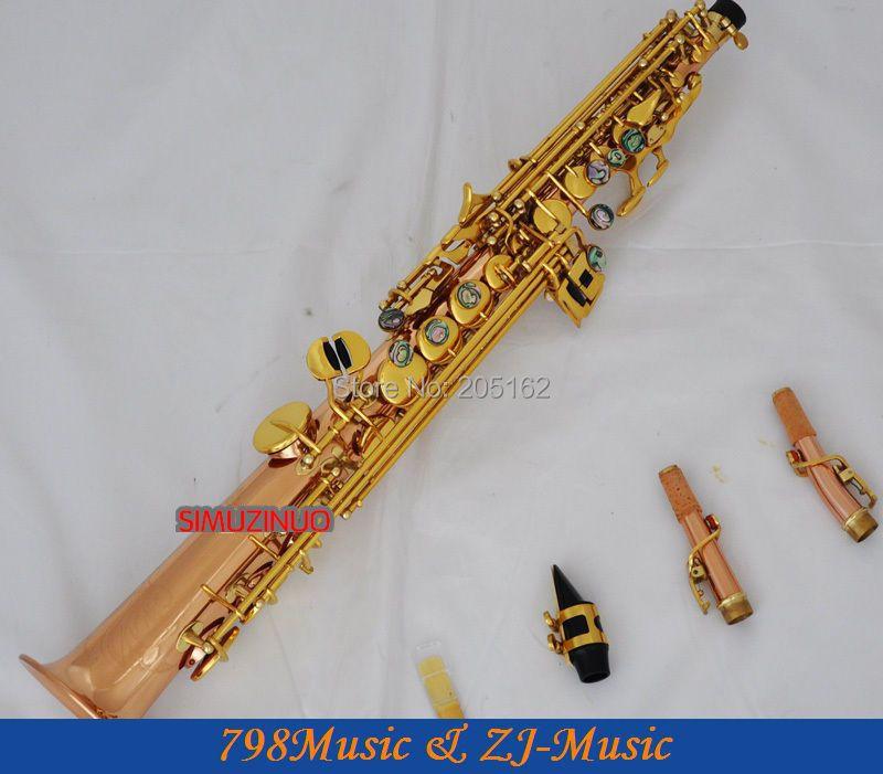 Saxophone Soprano cuivre Bronze phosphoreux clé Bb à clé haute F et clé G-2 cous