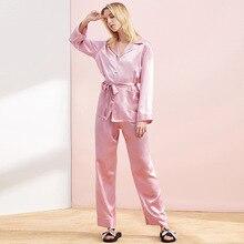 Silk Pajamas Women Sleepwear Pink Pajama Sets Red Pijama Mujer Green Home Clothes Soft Satin Loungewear Ladies Sleep Set Tops цены