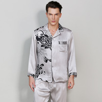 CEARPION Men Pajama Set Casual Daily Home Wear 100% Silk Sleepwear Suit Long Sleeve 2 PCS Shirt+Pant Night Wear Size M XXL