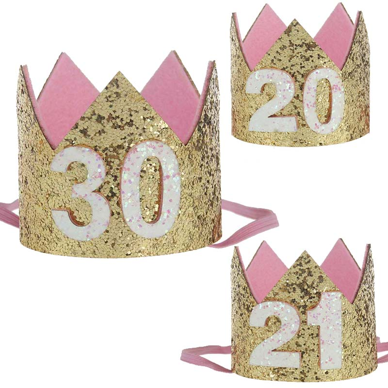 20th 21th 30th Adults Birthday Decoration Supplies Hair Accessories 20 21 30 Years Old Birthday Girl Woman Princess Crown Tiara