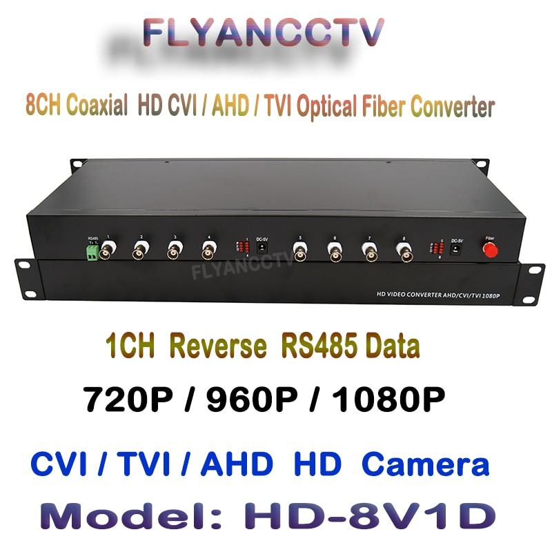 1Pair 2 Pieces/Lot 2MP HD CVI AHD TVI 8 Ch Video Optical Converter With 1ch RS485 Data Fiber Optic Media Transmitter & Receiver