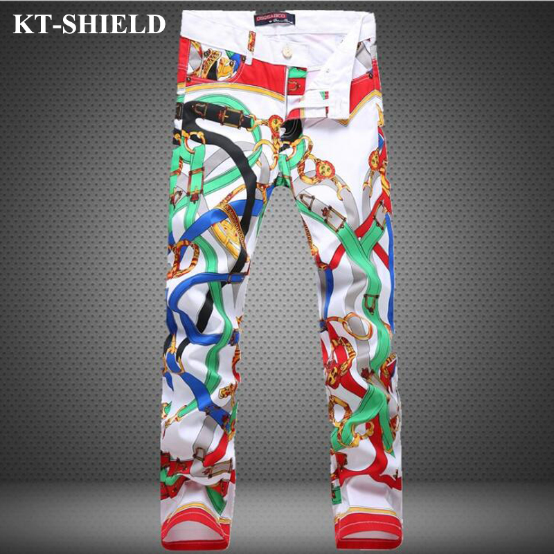 Skinny Mens Jeans Famous Brand Fashion Biker Denim Trousers Men design Slim fit Jeans Cotton Printed