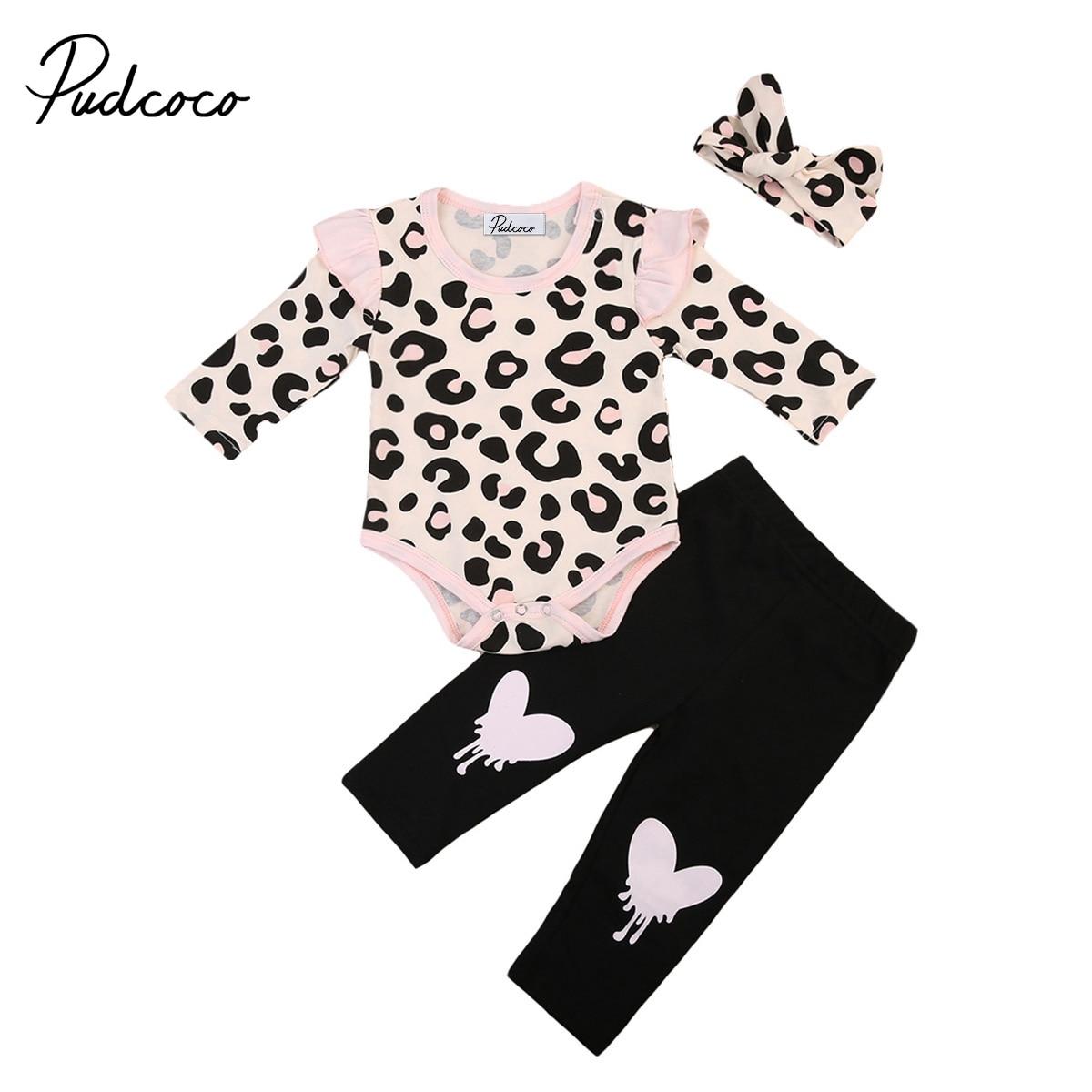 3 шт. для новорожденных девочек осенняя одежда с длинным рукавом боди + Брюки + комплект с ободком