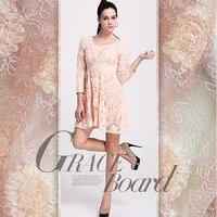 Free shipping! Heavy water soluble lace fabric soft pink cheongsam dress fabrics