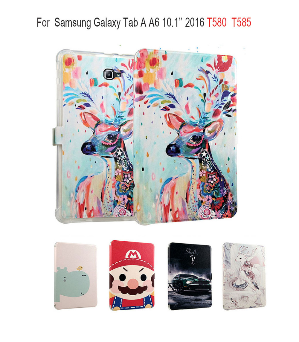 Magnet Painted PU Leather Flip smart Case For Samsung Galaxy Tab A A6 10.1 2016 T580 T585 SM-T580 10.1 inch Tablet Case Cover luxury flip stand case for samsung galaxy tab 3 10 1 p5200 p5210 p5220 tablet 10 1 inch pu leather protective cover for tab3