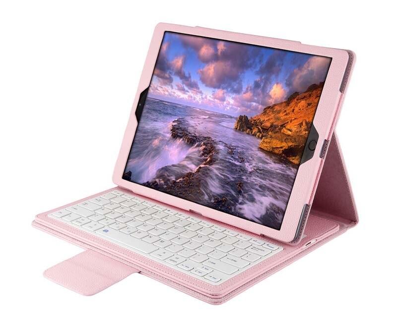 """bilder für Für Apple iPad Pro 12,9 """"12,9 zoll Tablet Abnehmbare Drahtlose Bluetooth Russisch/Spanisch/Hebräisch Tastatur + PU Ledertasche Ständer"""