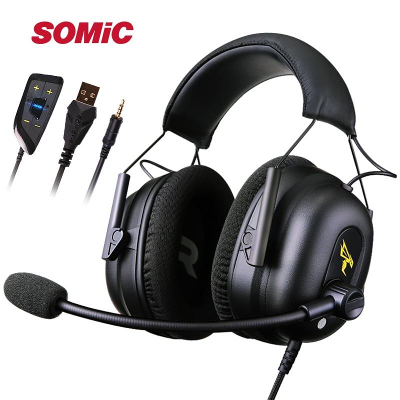 SOMIC G936N casque de jeu USB 7.1 casque Surround virtuel casque stéréo casque de jeu avec micro LED pour ordinateur PC PS4 Gamer