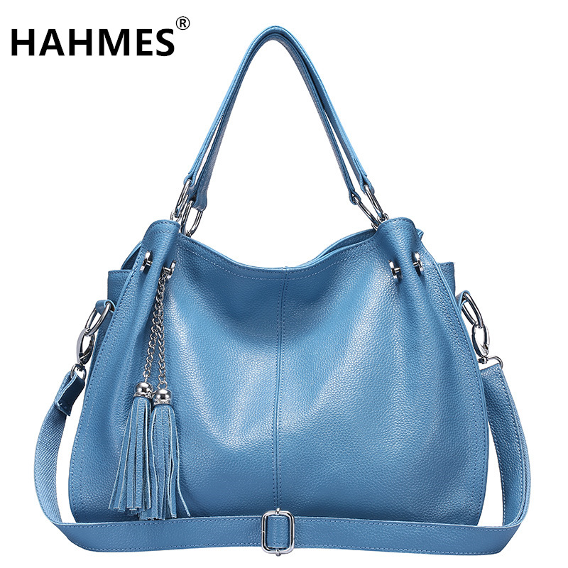 HAHMES 100% Genuine Leather Women's Bag Casual Tote handbag quality cow leather shoulder bag 38cm 10217 hahmes 100