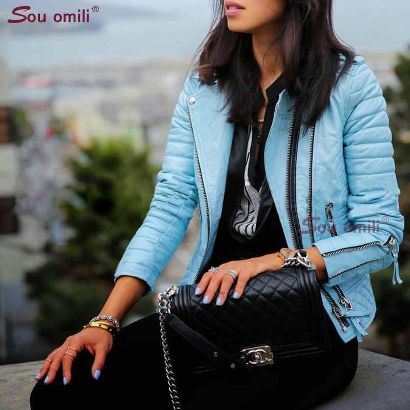Blue Lozenge Leather Jacket for Women Rivet Punk Moto Coat Faux Jacket jaquetas couro Casaco Jacket chaqueta cuerina mujer