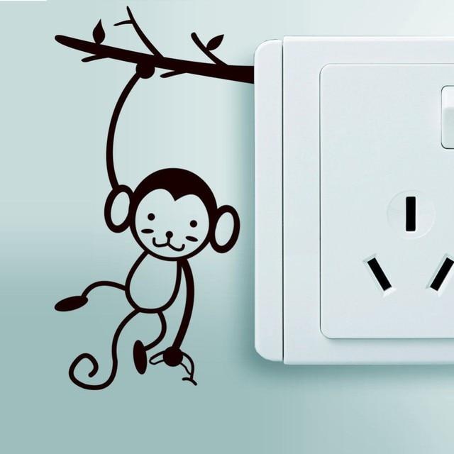 small monkey art vinyl wall sticker home wall stickers light switch