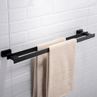 Matte black bathroom towel bar copper double pole towel holder Toilet hardware pendant rack wx7281023