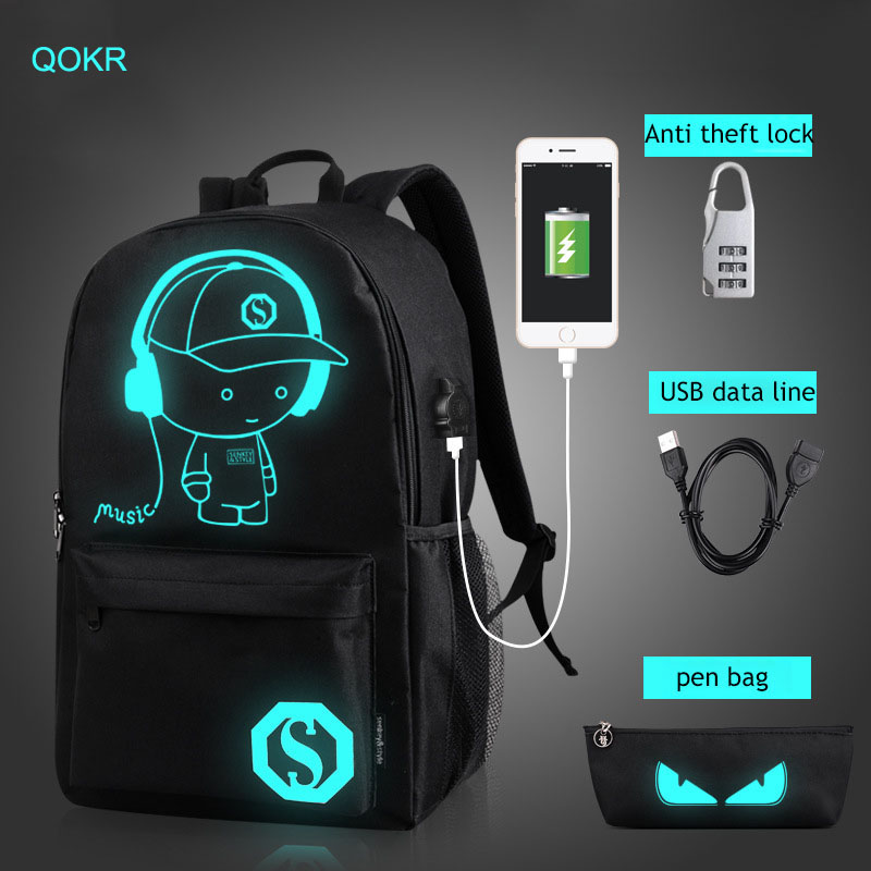 Womens USB charge music canvas backpack luminous pupils high school bag students leisure ...