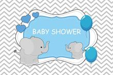 Laeacco Elephant Baby Shower Backdrops For Photography Balloon Chevrons Stripes Party Banner Photo Backgrounds Studio