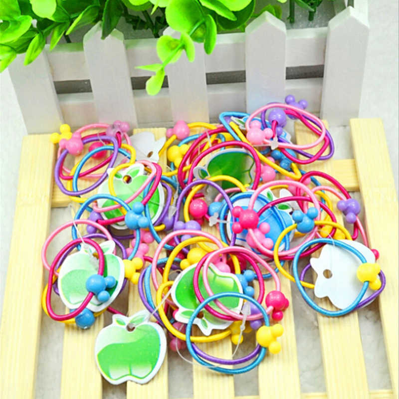 newc 50x Assorted Elastic Rubber Hair Rope Band Ponytail Holder for Kid Girls