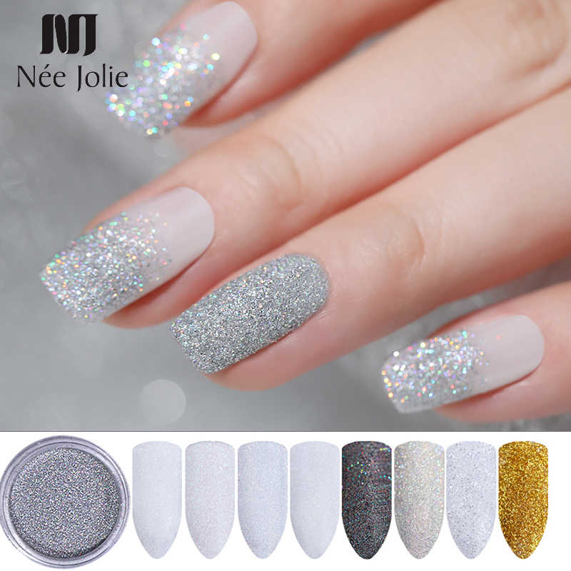 1 Box Shining Holographic Glitter Powder 1g Mirror Effect Pearl Glitter Dust Powder Manicure Nail Art Decoration