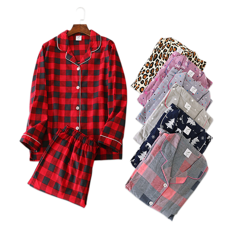 New Christmas casual   pajama     sets   women 100% brushed cotton long sleeve fresh cartoon loose mujer pijamas plus size pyjamas women