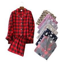 0b045a0ce6 Nuevos conjuntos de pijama casual de Navidad para mujer 100% de algodón  cepillado de manga larga de dibujos animados frescos de .