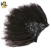 Mongolian Afro Kinky Curly Clip In Human Hair Extensions Natural Remy Hair Clip Ins Full Head