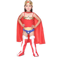 Halloween Baby Girl Wonder Woman Cosplay Jumpsuits Costume With Cloak Lumgi Leg Warmer Red Party Dress