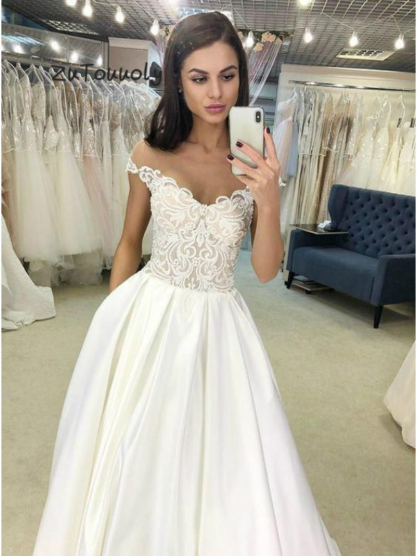 Elegant White Prom Dress With Pockets Off The Shoulder Applique A Line Satin Long Graduation Party 2019 Evening Ceremony Dresses