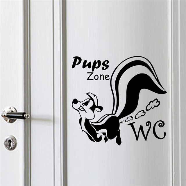 pups zone wall stickers toilet bathroom WC rooms decorations 362. diy vinyl home decals cartoon animal mural art posters 4.0