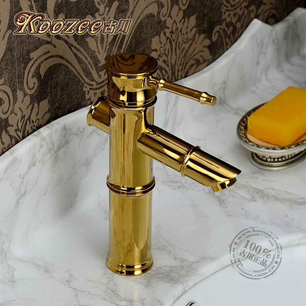 Gu Chuanou style bamboo classical antique copper bathroom faucet ...