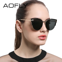 AOFLY Sunglasses Cat Eye Ladies Sunglasses 2017 Luxury Classic Women Fashion Shades Brand Designer Alloy Legs