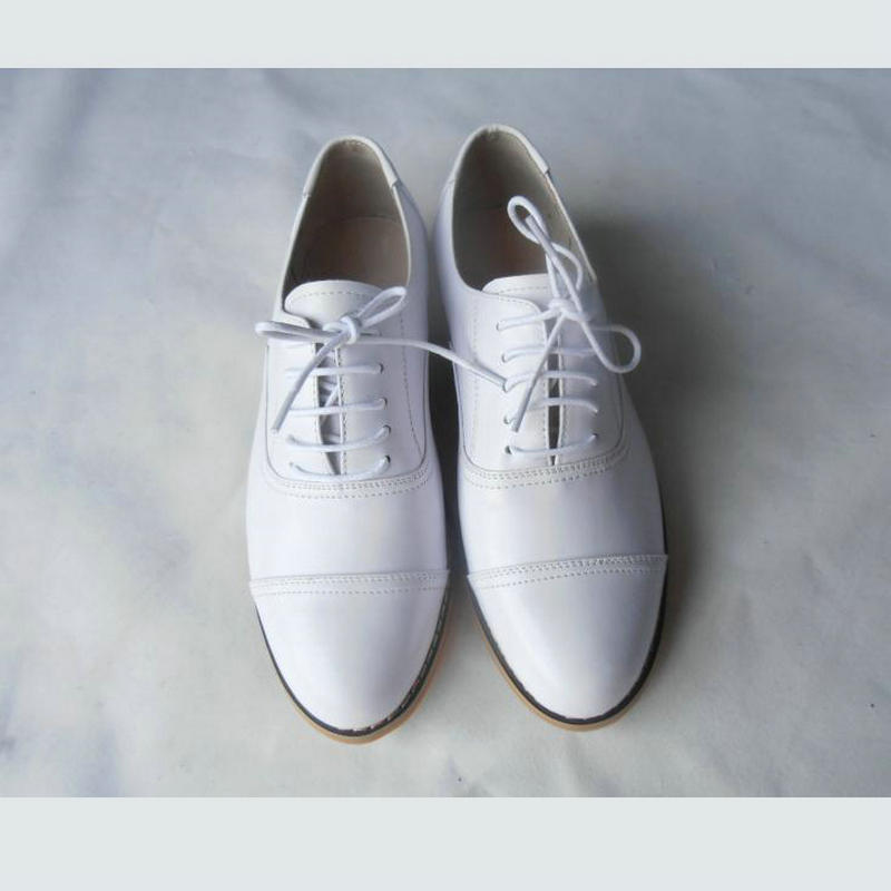 2018 Women Oxfords Flats Shoes Genuine Leather Female Fashion Flats Heel Three Stitching Women s Small