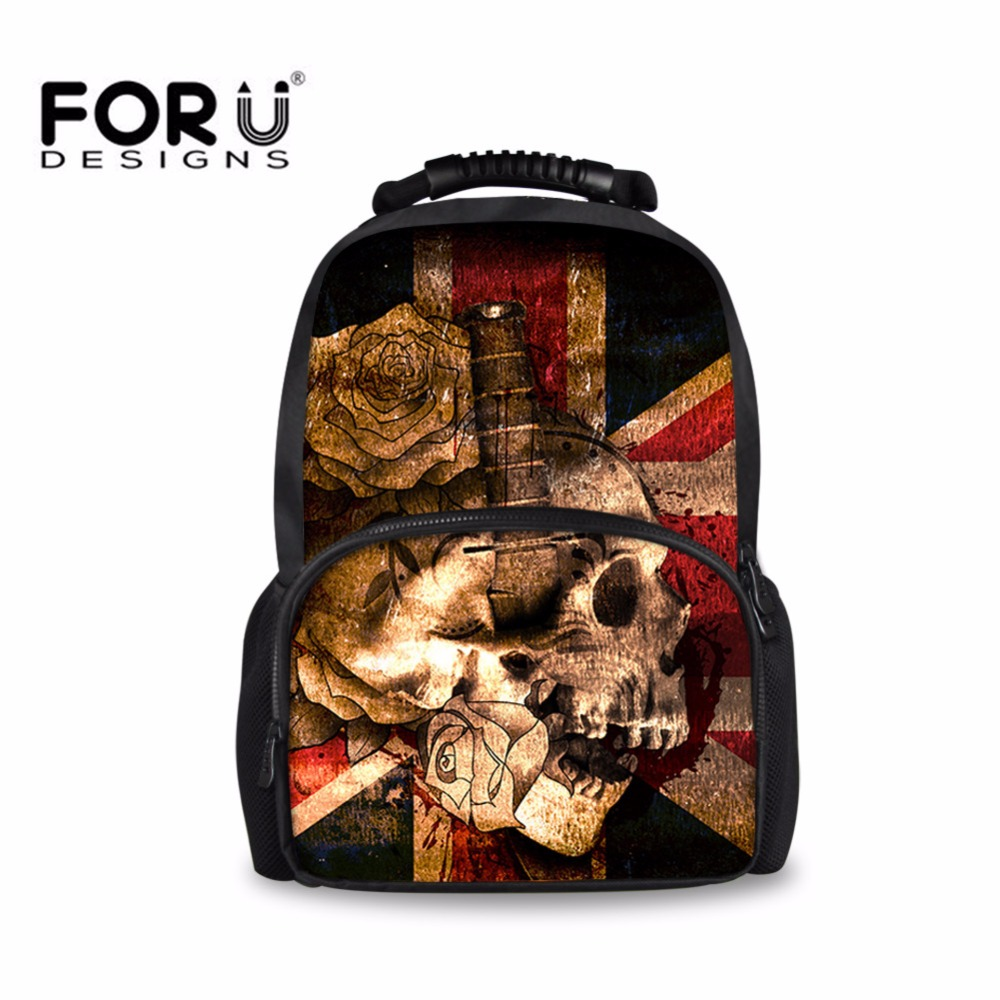 FORUDESIGNS Skull Vintage Backpack for Teenager Boys Men Backpacks Student School Book Bag Retro Large Bagpack Travel Mochila spain backpack kids children foot ball star backpacks for boys school bagpack girls youth rucksack student mochila bags