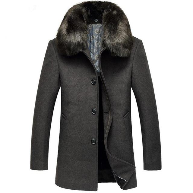Best Price 2017 autumn and winter new listing men jacket business casual jacket warm fur collar men cotton coat M-3XL