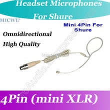MICWL Beige Omni-Directivity ear Hook Headset Microphone for Shure Wireless mini XLR 4Pin