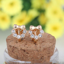 fashion cute bowknot full of rhinestone clip on earring cushions earrings for girls baby without pierced ear clip korea style(China)