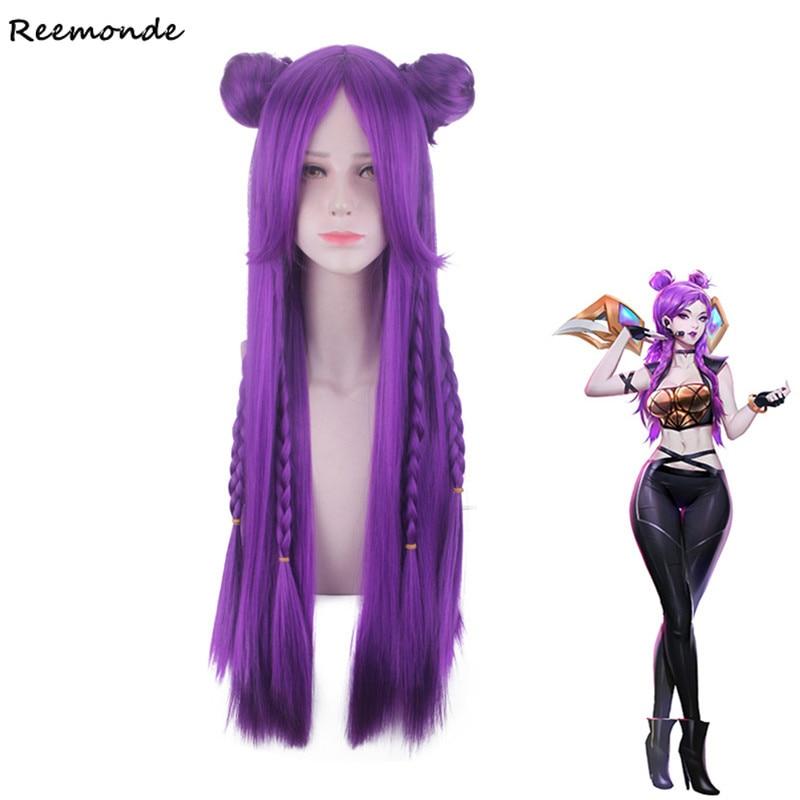 LOL KDA Kaisa Cosplay Game LOL K/DA Evelynn Akal Long Medium Purple Yellow Synthetic Wig Hair Perucas For Women Girls