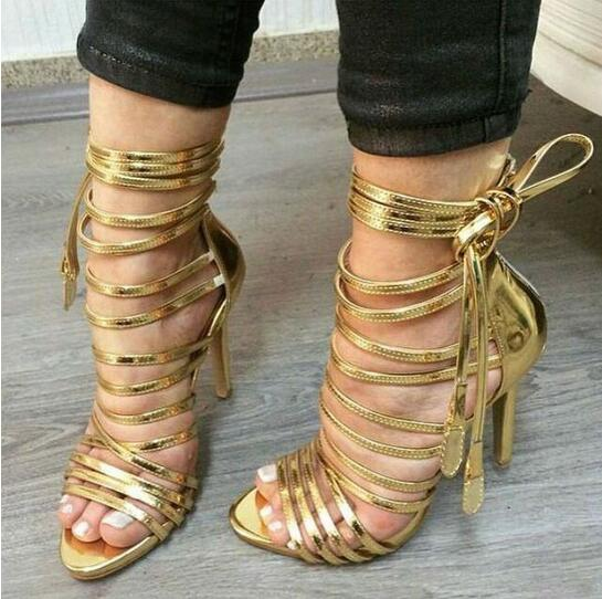 New Design Summer 2016 Gold Ankle Strap Sexy Women Sandals High Heel Lace-up Strappy Gladiator Sandals Boots Women Drop Ship